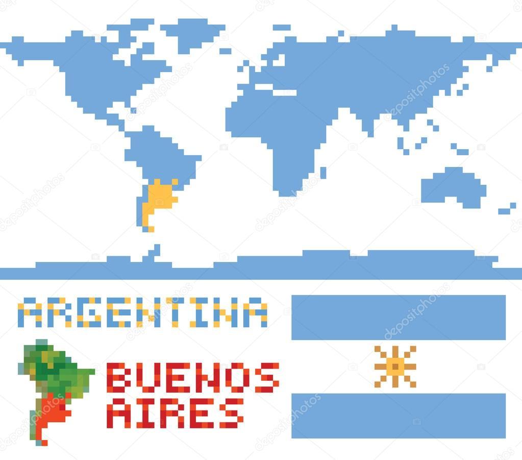 Argentinien auf der Weltkarte, border Form Fahne u. Hauptstadt ...
