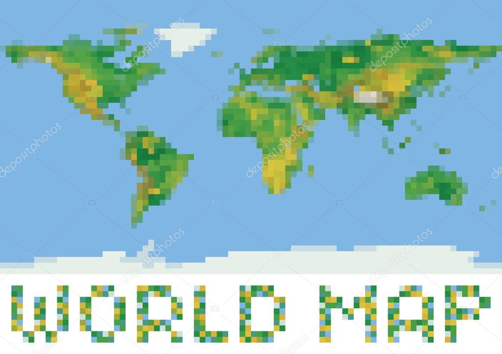 pixel art style world physical map with green and yellow relief