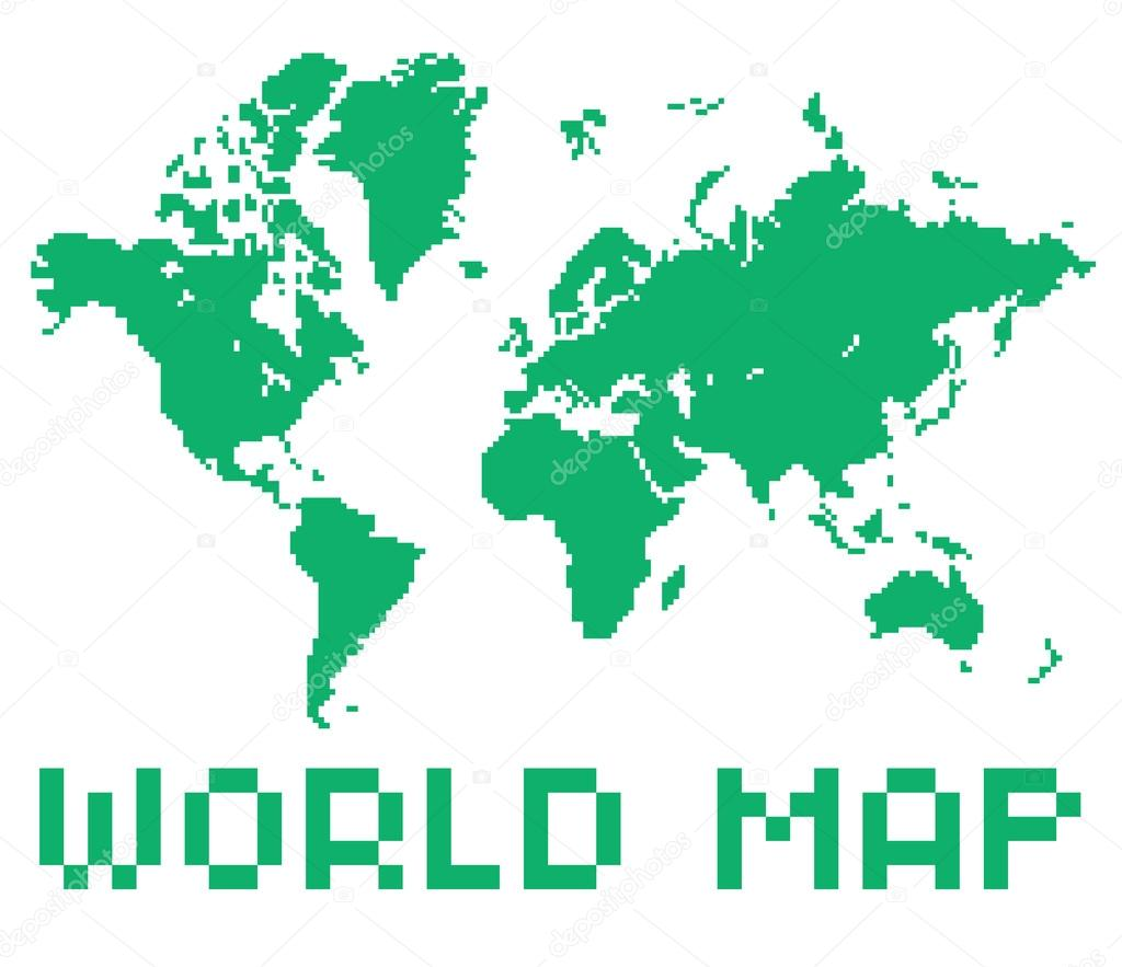Pixel arte estilo mundo mapa color verde en forma aislada vector pixel art style world map green color shape isolated on white vector de gdaintic gumiabroncs Gallery