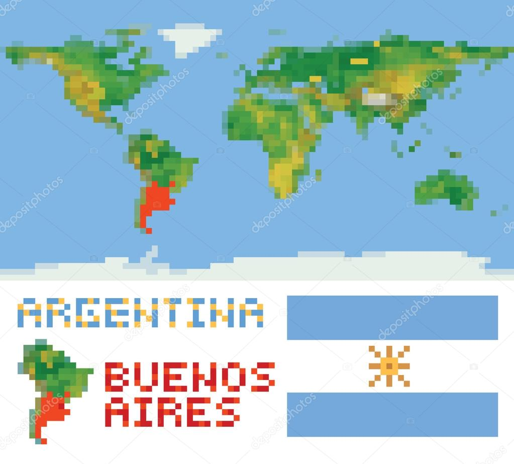 Argentinien auf physische Weltkarte gestalten Fahne u. Hauptstadt ...