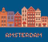 pixel art illustration zeigt amsterdam holland fassaden alter häuser straße