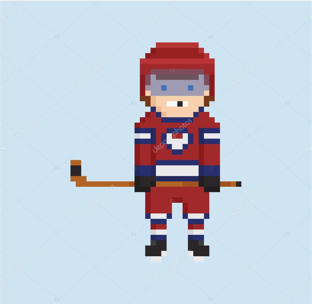 Pixel Art Style Illustration Montre Hockeyeur En Rouge