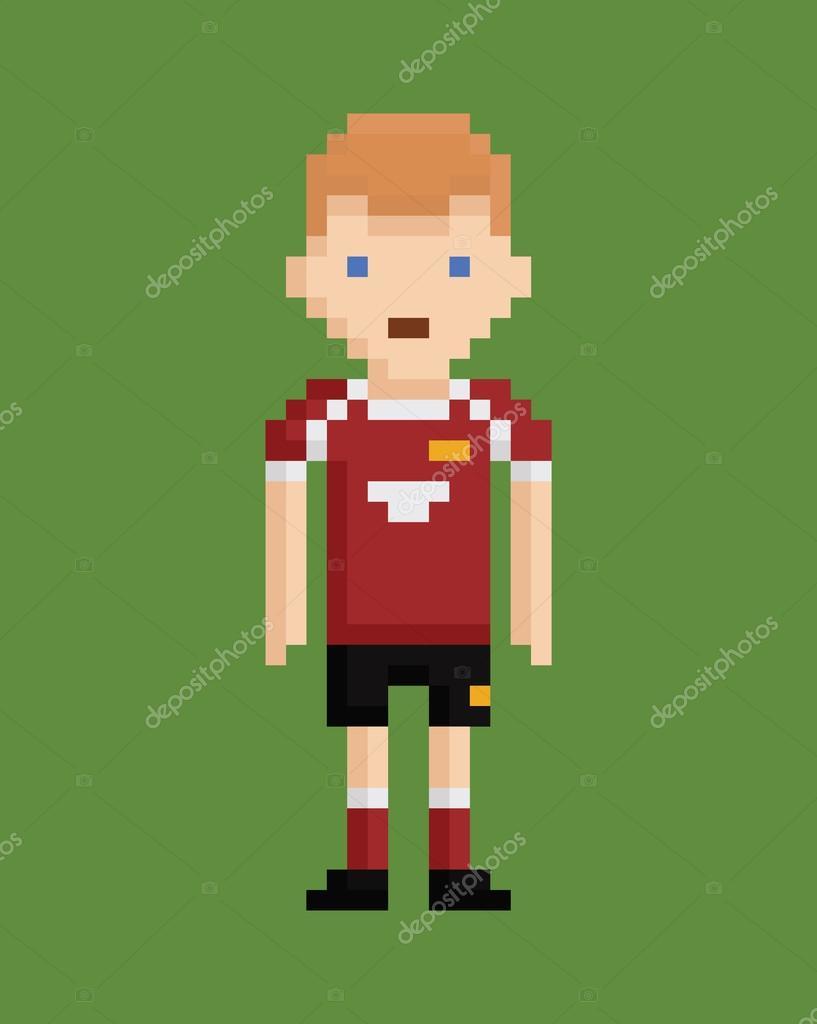Pixel Art Style Illustration Montre Joueur De Soccer En