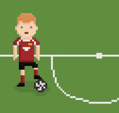 pixel art style illustration football soccer player on green field near white line holding the ball with his leg
