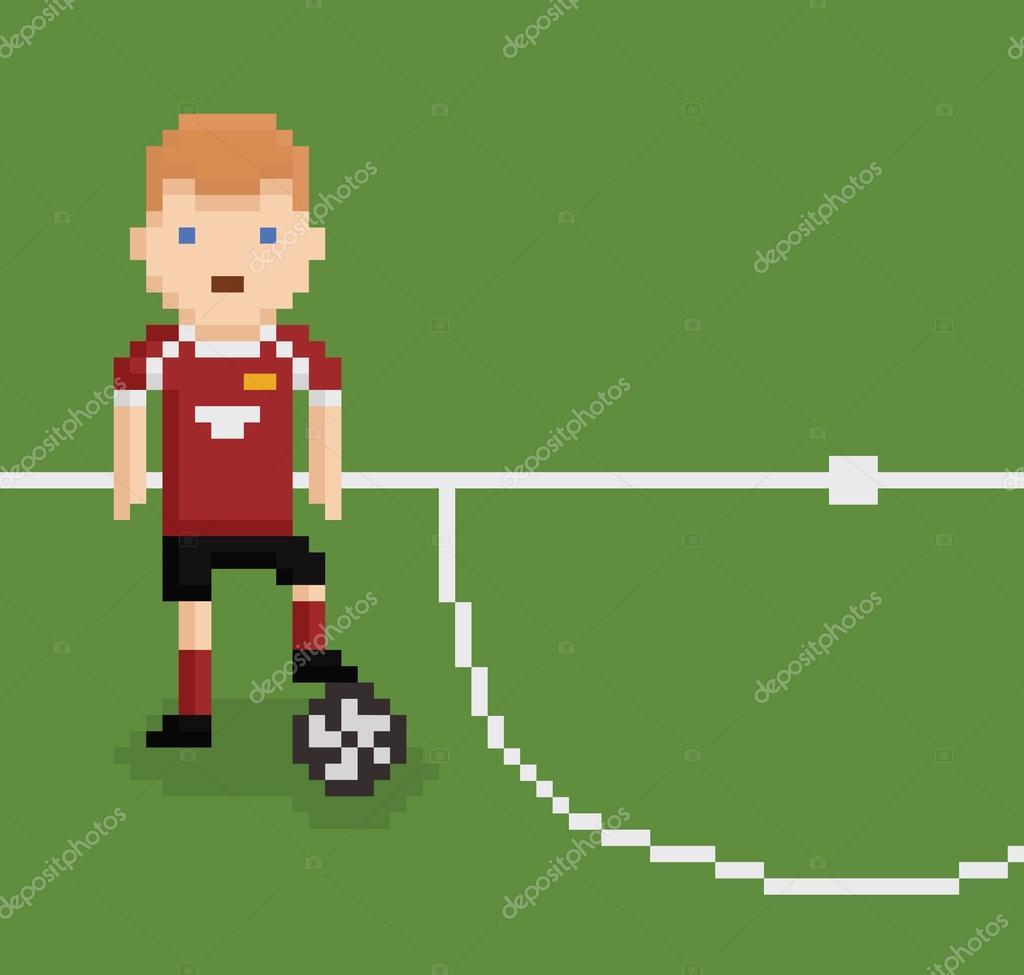 Pixel Art Foot Pixel Art Style Illustration Football