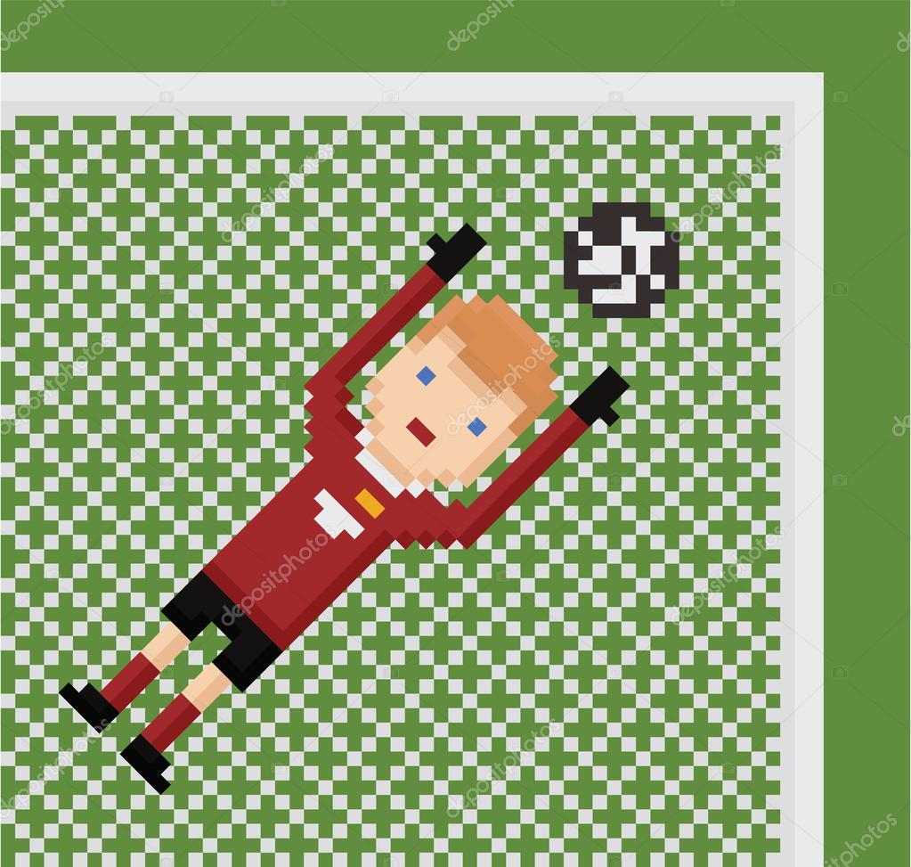Pixel Art Illustration Football Soccer Goalkeeper In Red