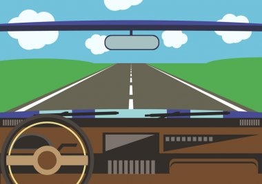 Drivers view from a car window to the road surrounded with green field clip art vector