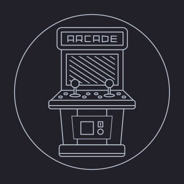 Pixel art style simple line drawing of arcade cabinet isolated vintage white item on black background stock vector