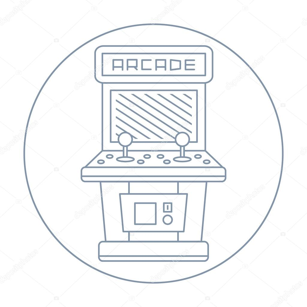 Simple line drawn vintage game arcade cabinet icon isolated ...
