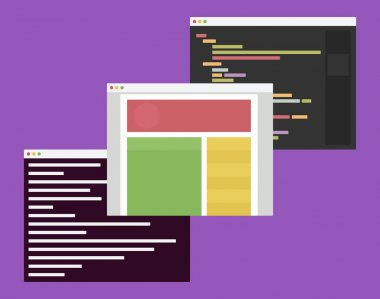 flat design illustration of computer windows with web development code editor, browser and terminal