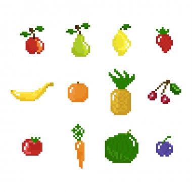 pixel art style fruits, vegetables and berries collection