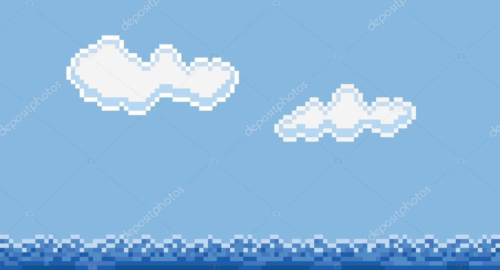 Pixel art style sea water and clouds