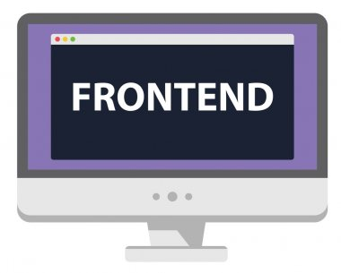 Web development illustration computer display says Frontend