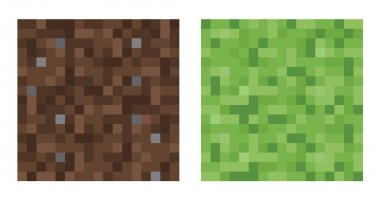 Texture for platformers pixel art vector - mud and bush