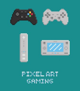 Vector pixel art illustration - modern gamepads set isolated