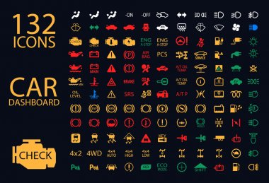 Vector collection of car dashboard panel indicators, yellow red green blue indicators 132 icons clip art vector
