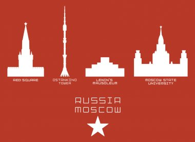 Russia Moscow city shape silhouette icon set -Red Square, Ostankino Tower, Lenins Mausoleum, State University