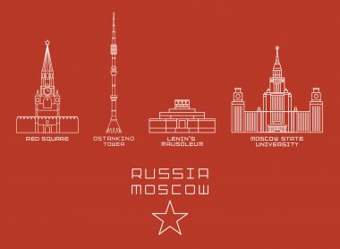 Russia Moscow city thin line icon set -Red Square, Ostankino Tower, Lenins Mausoleum, State University