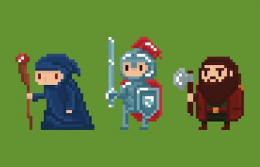 Pixel art style illustration wizard, knight and dwarf