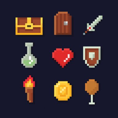 Vector pixel art illustration isons for fantasy adventure game development, magic, sword, food, chest, coin,