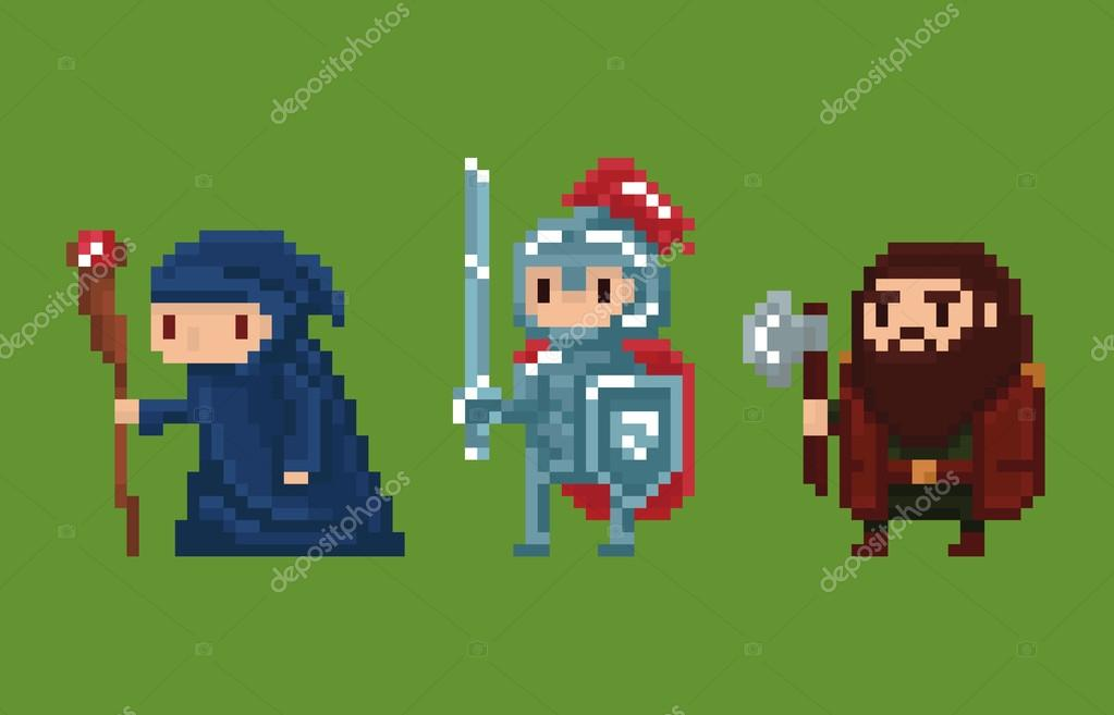 Pixel Art Style Illustration Wizard Knight And Dwarf