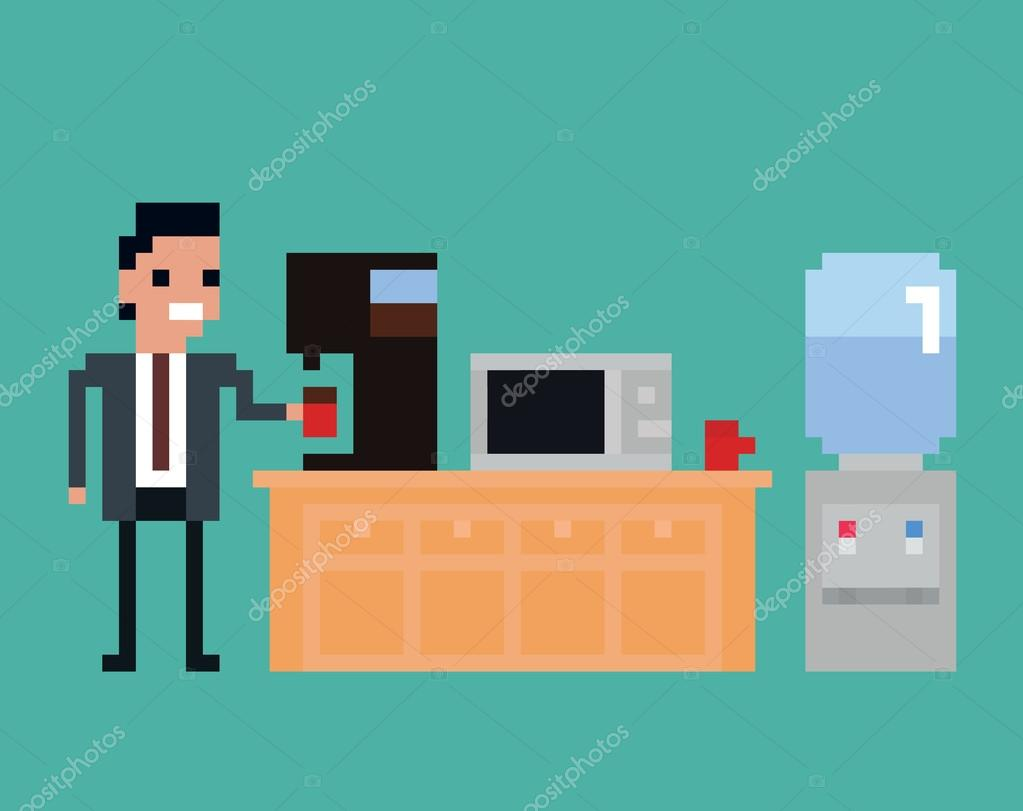 pixel art illustration of office worker pours drink in the kitchen ...