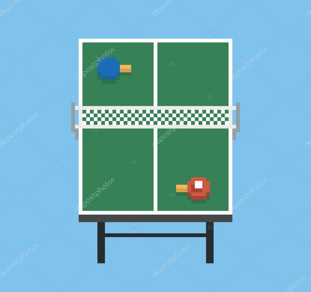 Pixel Art Style Ping Pong Sport Table Playground Green Vintage Game Isolated Vector By Gdainti C