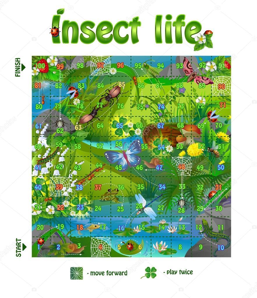 Juego De Mesa Vida Insectos 3 Vector De Stock C Rodnikovay1 116918676