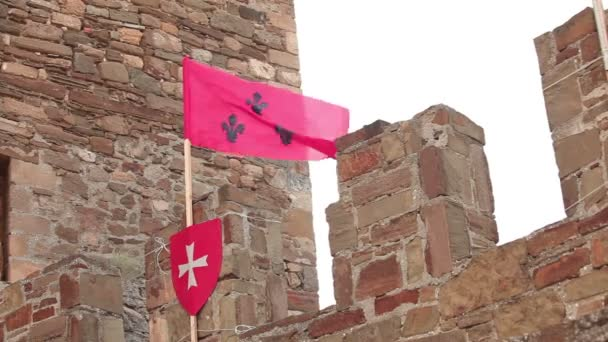 red flag on the fortress wall