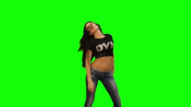Green screen and matte girl dancing. green screen, Chroma key, alpha channel