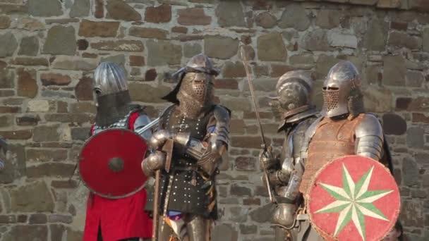 knights in armor stand in a fortress during the day