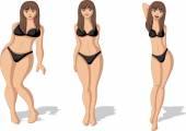 Fette und schlanke Frauenfigur.