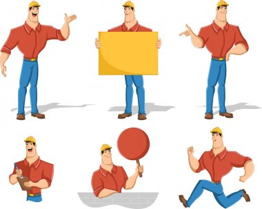 Cartoon worker character in different actions