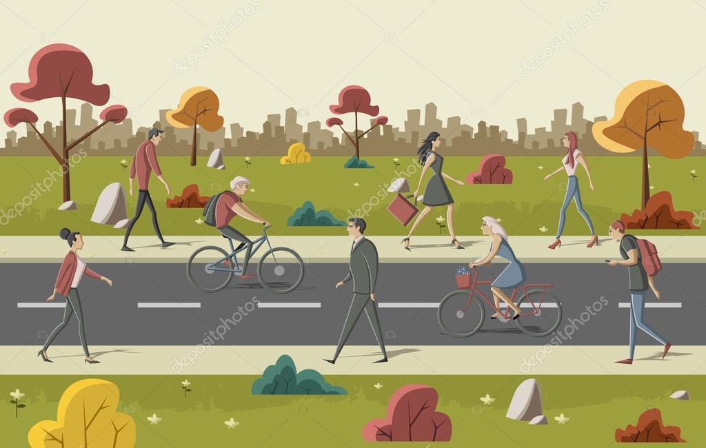 Dibujos: Personas Caminando En La Calle