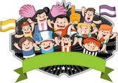 kreslený sportovní fanoušci a příznivci jásali