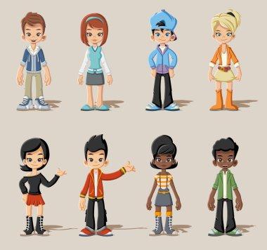 cartoon young people. Teenagers.
