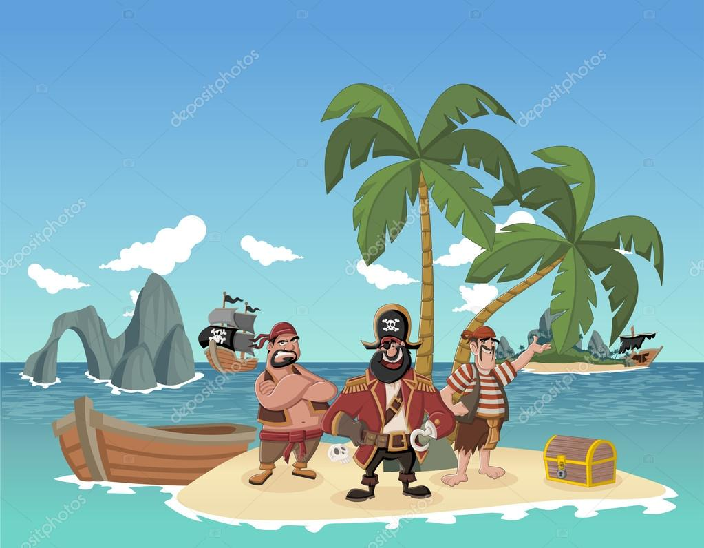 Cartoon pirates on a beautiful tropical beach