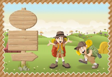 Cute cartoon kids in explorer outfit on a green park.