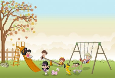 happy cartoon kids playing in playground on the backyard