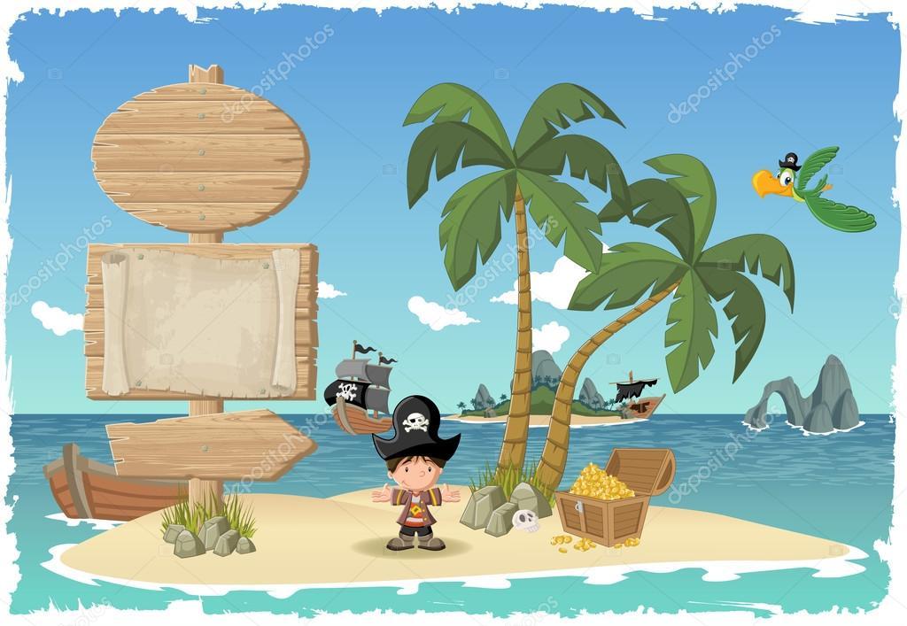 Cartel de madera en una hermosa isla tropical con ni o pirata archivo im genes vectoriales - Islas con ninos ...
