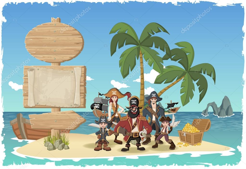 Wooden sign on a beautiful tropical island with pirates.