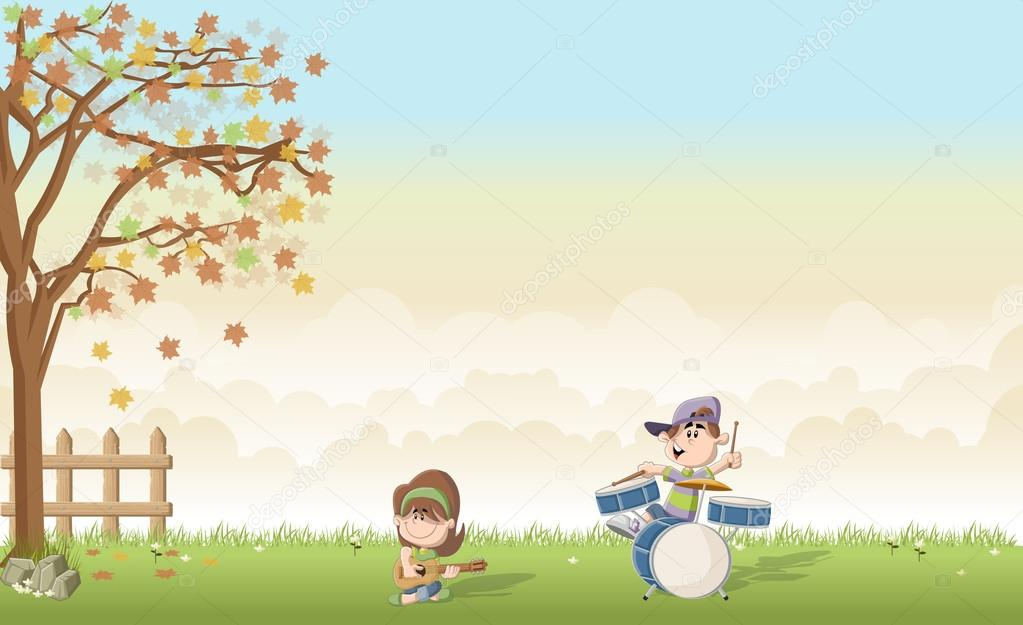 Green grass landscape with cute cartoon boy and girl playing music on a band.