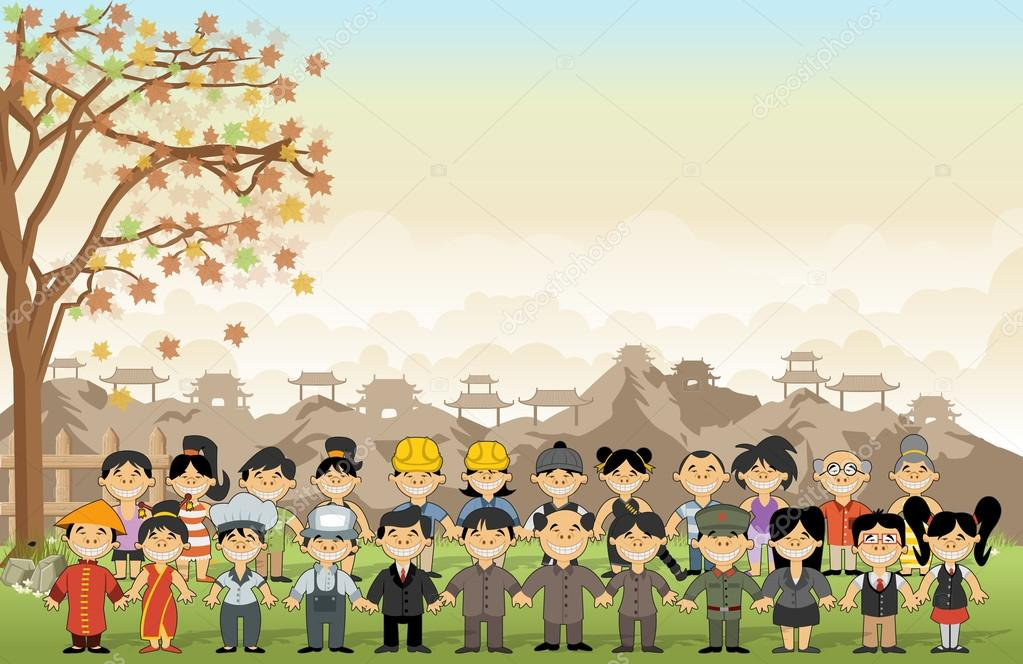 Green grass landscape with chinese cartoon people