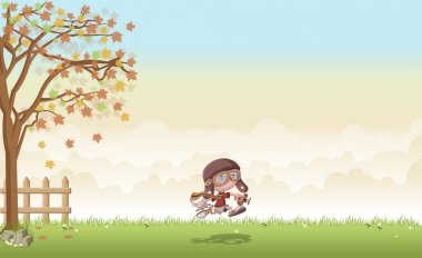 grass landscape with cartoon boy with helmet and goggle running with airplane toys
