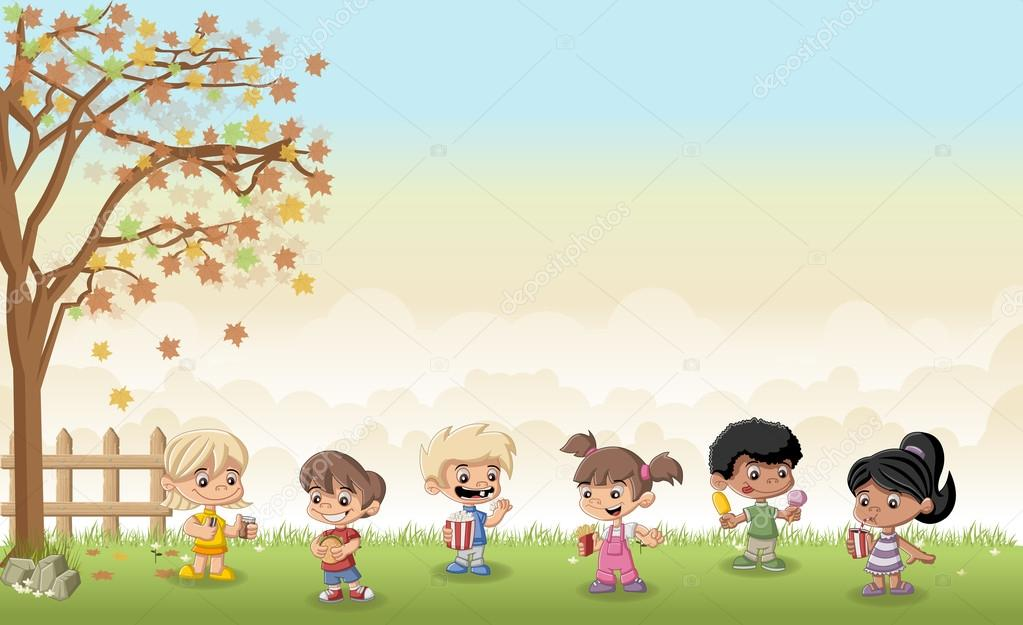grass landscape with cartoon children eating junk food