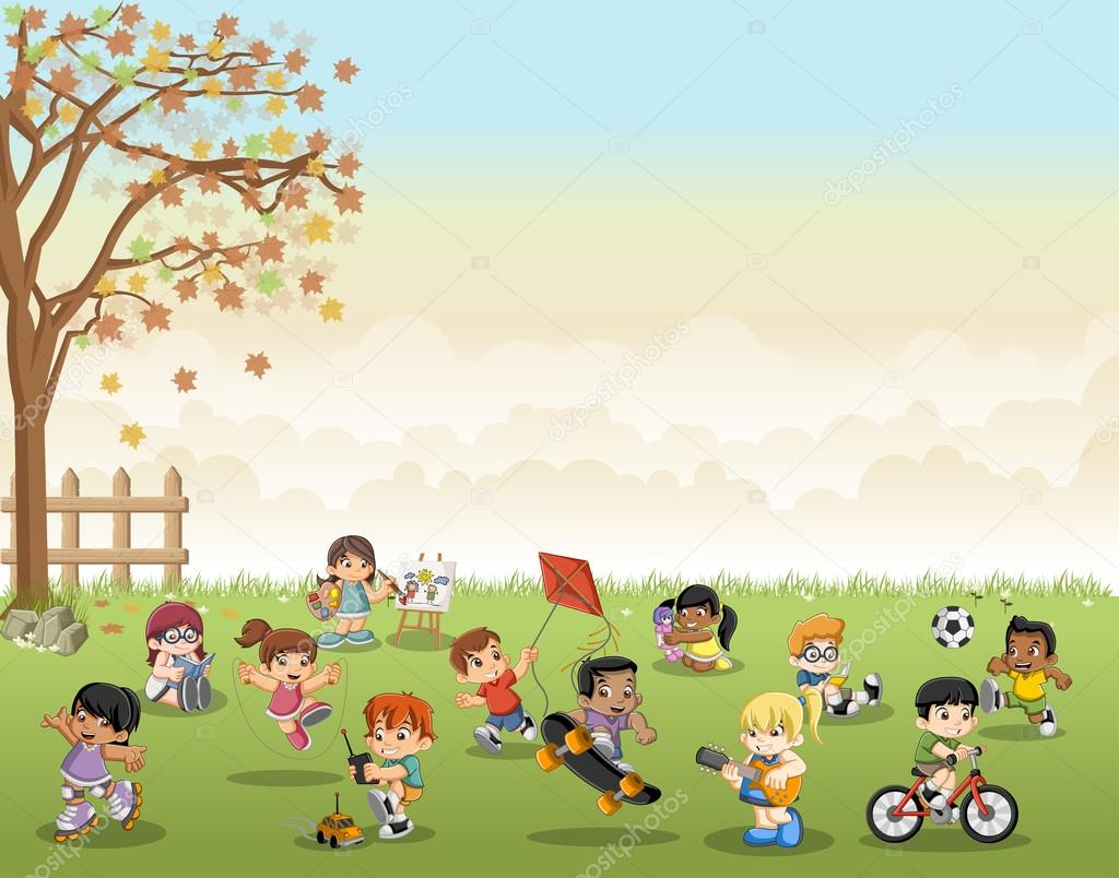 Green grass landscape with cartoon kids playing. Sports and recreation.