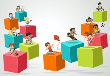 3d cubes with cartoon children playing.