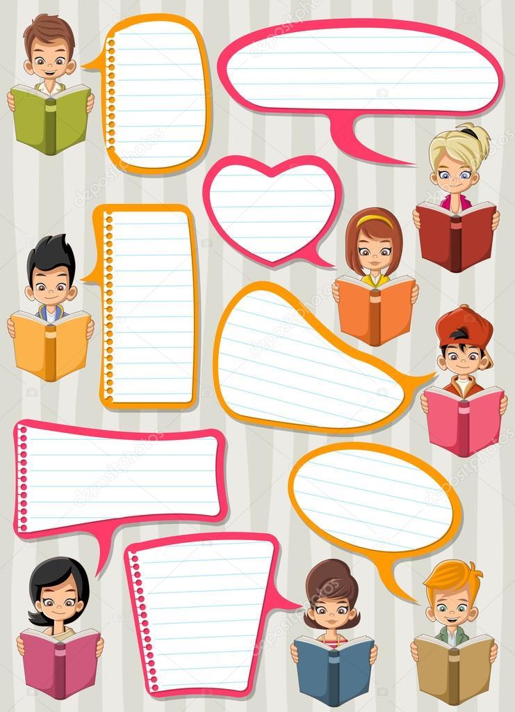 Cartoon Children Reading Books Students Talking With Speech Bubbles