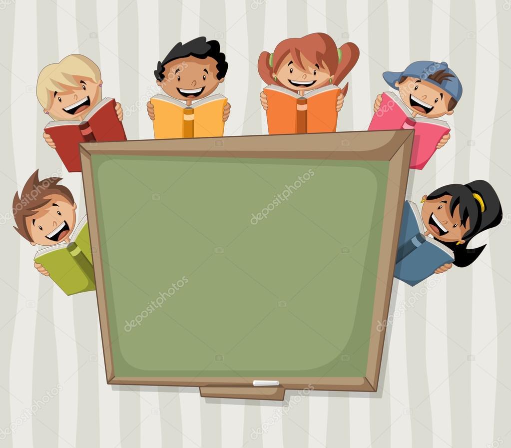 Dessin anim enfants lire des livres sur le tableau noir for Tableau ardoise enfant