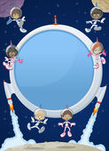 Futuristic rocket screen board with astronaut cartoon children